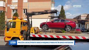 Poliția Locală poate ridica mașinile parcate în spații interzise