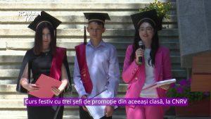 Curs festiv cu trei șefi de promoție din aceeași clasă, la CNRV